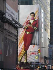 Shazam The Big Red Cheese Billboard 42nd St NYC 4328 (Brechtbug) Tags: shazam billboard 42nd street new captain marvel the big red cheese poster ad nyc 2019 times square movie billboards york city work working worker paint painting advertisement dc comic comics hero superhero alien dark knight bat adventure national periodicals publication book character near broadway shield s insignia blue forty second st fortysecond 03202019 lightning flight flying march
