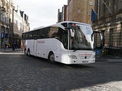 Humphries Coaches of Datchet, Coach Miles, Mercedes Benz Tourismo BX64CZU, in Trafalgar Tours livery, turning from High Street to South Bridge, Edinburgh, on 18 March 2019. (Robin Dickson 1) Tags: busesedinburgh humphriesofdachet coachmiles mercedesbenztourismo bx64czu trafalgartours