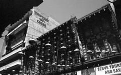 the china empress (blakeboulka) Tags: 35mm blackandwhite ilford delta100 film bw delta bnw walking exploring chinatown empress buildings chinese lanterns sanfrancisco grainy manual analog nikon f3