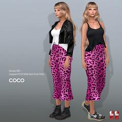 COCO Group Gift : Leopard Print Midi Skirt (Hot Pink) (cocoro Lemon) Tags: coco gift leopard skirt secondlife fashion maitreya slink belleza mesh
