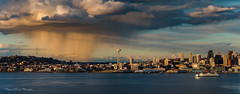 Seattle Storm (Stephanie Sinclair) Tags: 2shotpano pugetsound seattlestorm nikon seattle seattleempress stephaniesinclairphotography zeiss seattlespaceneedle seattlewaterfront ferryboat nikonnofilter weather