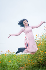9638 (mapleal_2000) Tags: vietnam woman aodai action jumping