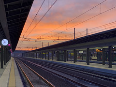 dawn at rail station (Paolo Cozzarizza) Tags: italia lombardia brescia scorcio alba cielo