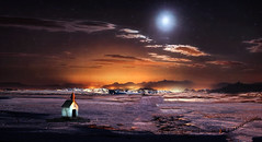 Night Views (jarr1520) Tags: sky clouds night moon glow lights composite textured fields snow chapel trees landscape outdoors