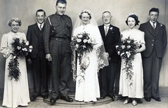 VINTAGE WEDDING. 1940s (JOHN MORGANs OLD PHOTOS.) Tags: vintage found photo wedding 1940s uk unusual unitedkingdom unknown unique interesting different bw black british photos photographer people bouquet cake army raf johnmorgan world war 2 two
