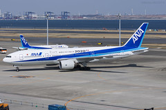 All Nippon Airways, Boeing 777-281(ER), JA745A. (M. Leith Photography) Tags: tokyo haneda airport japan boeing jet airliner mark leith photography nikon d7200 70200vrii 200500mm nikkor flying hnd taxiing runway aviation sunny air ana all nippon airways 2020 olympics 777