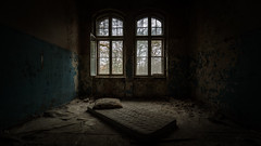 Welcome Home (Ulmi81) Tags: berlin beelitz heilstätten room lost place decay former sanitarium walls windows bed sleeping homeless dark germany abandoned mattress used dirt rotten building old historic sleep welcome home