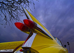 Someday, We Will Go to the Moon (oybay©) Tags: cadillac arizona carshow car show generalmotors gm large finesse style grace taillight color colorful colour caddy caddie cad yellowcar tailfin automobile