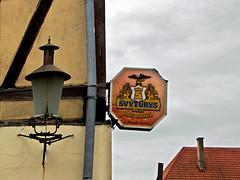 photo - Švyturys Beer Sign, Klaipeda, Lithuania (Jassy-50) Tags: photo klaipeda lithuania svyturysbeersign svyturysbeer svyturys beer sign breweriana streetlight streetlamp svyturysbrewery beersign fachwerk halftimbered svyturyslighthousebrewery