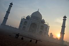 Mausoleum at Dawn (Pedestrian Photographer) Tags: taj mahal tour sunrise am red sun early agra india tajmahal orange sky