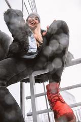 MERIT-2150157 (qauqe) Tags: tartu estonia model female girl woman beanie chick fashion ootd leica timberland footwear red urban streetwear furcoat fur jacket smile laughter winter