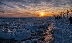 South Haven Lighthouse #6 (tquist24) Tags: hdr lakemichigan michigan nikon nikond5300 people southhaven southhavenlighthouse clouds cold evening frozen geotagged ice lake pier sky sunset water winter lighthouse