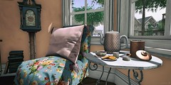 Time for Tea (AlyceAdrift) Tags: tea kettle teapot flowers vintage shabby chic country countryliving antique timeless afternoon angelgrove applefall loftaria space spaceoddities classic sunshine hottea dadliving life secondlife second decor blogging decorator inter design clock books lazyday relax cheekypea