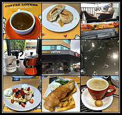 2019 Sydney collage: Mikel Coffee Cafe (dominotic) Tags: 2019 food dessert fruit drink mikelcoffeecafe greekcoffee strawberries blueberries bananas pancakes flatwhite icecream whippedcream iphone8 foodphotography fishchips salad shortbread yᑌᗰᗰy fivedocksydney foodcollage coffeeobsession sydney australia