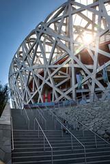 Bird's Nest (bae43) Tags: beijing birdsnest china chinese niaochao olympic olympics stadium sun sunburst