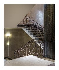 Elegant Art Deco Staircase & Bannisters, Hornsey Town Hall, Crouch End, North London, England. (Joseph O'Malley64) Tags: artdeco style elegance design thebuiltenvironment newtopography newtopographics manmadeenvironment manmadestructure architecture architecturalfeatures architecturalphotography documentaryphotography britishdocumentaryphotography urban hornseytownhall townhall civiccentre localgovernment sold soldout hornsey crouchend london northlondon england uk britain british greatbritain stairs steps brass marble stone blockwork cladding lighting lamps sconce landing pillar oblique interior classicdesign change changeofuse fujix fujix100t accuracyprecision bronze