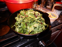 mustard greens (Just Back) Tags: mustard brassica brassicaceae vitamins minerals garden fresh green red bacon hot wilt grease stove cooking spring comida taste savor sabor onion sizzle simmer food prep knife leaves