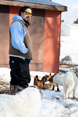 Mark with critters (massdistraction) Tags: goats goatfarm stpatricksday party saunaparty march snow winter outside friends fun goat farm farmparty sauna rural country