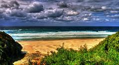 Rennies beach II (elphweb) Tags: hdr highdynamicrange nsw australia coast coastal sea ocean water beach seaside clouds cloudy skies sky waves