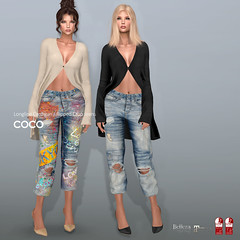 COCO New Release @Uber (cocoro Lemon) Tags: coco newrelease uber cardigan ripped jeans secondlife fashion maitreya slink belleza mesh