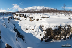 Upper Abisko Canyon (kevin-palmer) Tags: abisko abiskocanyon sweden swedishlapland europe arctic nikond750 tamron2470mmf28 abiskoriver snow snowy ice icy frozen birchtrees clouds nuolja march winter blue sky afternoon scandinavianmountains cliffs stitched