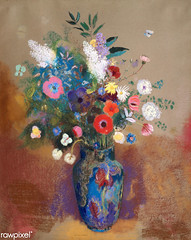 Bouquet of Flowers by Odilon Redon (Free Public Domain Illustrations by rawpixel) Tags: art artwork beautiful bloom blossom blue bouquet bouquetofflowers classic decor decoration drawing floral flower flowers french fresh illustration interior natural odilonredon painting paper pastel pink poster red redon retro spring stilllife style summer vase vintage white