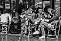 Cafe Conversation (Steve Mitchell Gallery) Tags: people friends groups converse conversations cafe cafes restaurants sidewalk sidewalkcafe eat dine paris france travel street