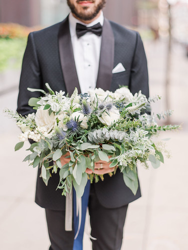 "White, Blue, and Eucalyptus Bouquet • <a style=""font-size:0.8em;"" href=""http://www.flickr.com/photos/81396050@N06/47494369211/"" target=""_blank"">View on Flickr</a>"