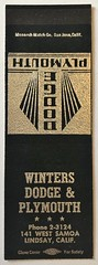 WINTERS DODGE & PLYMOUTH LINDSAY CALIF (ussiwojima) Tags: wintersdodgeplymouth autodealership lindsay california advertising matchbook matchcover