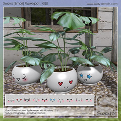 Sway's [Emoji] Flowerpot . GLE | GachaLand (Sway Dench / Sway's) Tags: gacha plants pot emoji cute kawaii monstera succulent flower vr sl sways