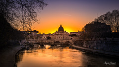 Sunset on the Tiber River (Magda Banach) Tags: europe italy nikkor2401200mmf40 nikond850 rome rzym stpetersbasilica tyber włochy architecture bluesky buildings city clearsky colors evening outdoor outside river sky spring sunset view