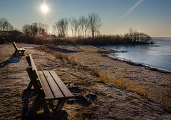 Sunny Lake View (Neil Cornwall) Tags: 2019 canada kingsville lakeerie lakesidepark march ontario bench ice lake morning sky sun sunrise trees water winter
