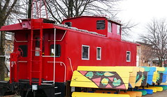 Little Red Lunch Caboose (Eat With Your Eyez) Tags: alliance ohio panasonic fz1000 train caboose red theme track downtown lunch dinning restaurant food picnic table outdoors closed weeklythemephotography