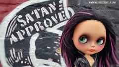Satan Approved (Motor City Dolly) Tags: custom ooak blythe doll alpaca reroot graffiti street art