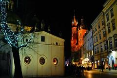 Winter night (Eziah photography) Tags: krakow poland night light travel city cityscape church tree citytrip sonya65 christmas winter street streets