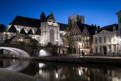 Sint-Michielskerk Ghent (dressk) Tags: ghent gent gand belgique belgium belgië europe city water canal street house architecture nikon d40x nikond40x flanders vlaanderen flandres bluehour blue hour church