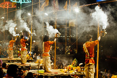 Evening Aarti, Varanasi India (AdamCohn) Tags: adam cohn ganga ganges india uttarpradesh varanasi aarti ceremony fire ghat night smoke streetphotographer streetphotography wwwadamcohncom adamcohn