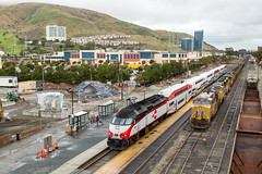 Changing Scenery (sully7302) Tags: caltrain south san francisco california train trains transport fog passenger commuter union pacific et44ac sd70m station mountains hills railroad