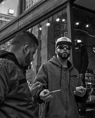 Chestnut Street, 2018 (Alan Barr) Tags: philadelphia 2018 chestnutstreet cigarette street sp streetphotography streetphoto blackandwhite bw blackwhite mono monochrome candid city people ricoh gr