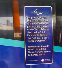 On 24 August 2012 this train carried the Paralympic Flame as part of the journey of the Torch Relay to the London 2012 Paralympic Games - the first ever 'public transprt Games'.  Torchbearer Aneurin Wood carried the Flame from Mudchute to Canary Wharf. (nick.harrisonfli) Tags: london plaque england unitedkingdom gb openplaques:id=51184