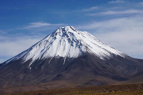 The Licancabur Volcano at 5,916 meters (19,409 ft) above sea level, San Pedro de Atacama, the Atacama desert, Antofagasta, Chile.