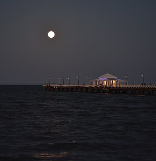 Moon over the pier.