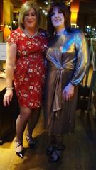Me and the ravishing Rachel xx (janegeetgirl2) Tags: transvestite crossdresser crossdressing tgirl tv ts trans jane gee leeds first friday lff bronze dress high heels