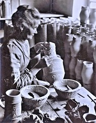 Old lady painting steins before burning, Hohr, Germany 1-21-19 NARA111-SC-51287 (over 16,000,000 views Thanks) Tags: stoneware hohrgermany ww1 worldwari americanoccupation germany german 1919 ceramics pottery