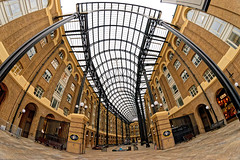 Hay's Galleria (Geoff Henson) Tags: mall shoping skylight roof building architecture fence windows shops beams pillars ceiling fisheye wideangle