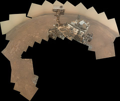 Incomplete Curiosity Self-Portrait, variant (sjrankin) Tags: 19january2019 edited nasa mars panorama msl curiosity galecrater haze mountains sand dust selfportrait selfie large 2695mb