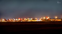 The Ramp at BGI with 5 Virgin Atlantic Aircraft (Terris Scott Photography) Tags: aircraft airplane aviation plane spotting nikon d750 tamron 70200mm f28 travel barbados jet jetliner virgin atlantic british airways 777 200er night photography long exposure lights airbus a330 winter season grass