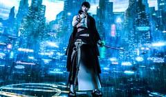 起死回生 (Chiaki♪) Tags: secondlife assasin japanese japanesetraditional kimono yukata sifi raining rain rainy stand knift mask quote sl
