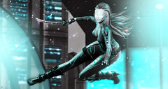 Cyber warrior (meriluu17) Tags: cyber surreal fantasy warrior guardian neon teal blue dynamic effect particles firght war