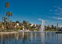 Echo Park Lake (Daren Grilley) Tags: california socal echo lake park los angeles downtown dtla fountain boats palm trees ducks fuji fujifilm x100 f100f